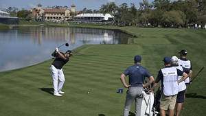 Shane Lowry tees off on the 18th hole at TPC Sawgrass