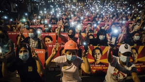Protesters pictures in Yangon, Mynmar