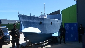 The three-metre-wide semi-submersible craft is made of fiberglass and plywood panels