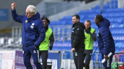 It was a frustrating day for Mick McCarthy (L)