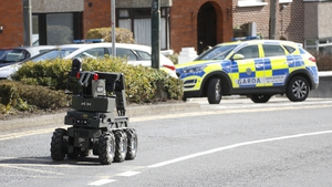 An Army bomb disposal robot at the scene in Glasnevin (Pic: Rolling News)