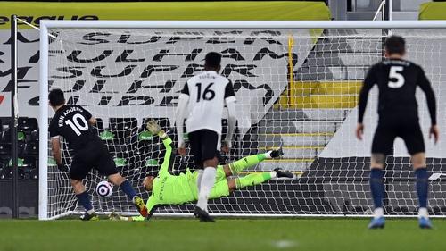 Aguero scored his first Premier League goal for 14 months