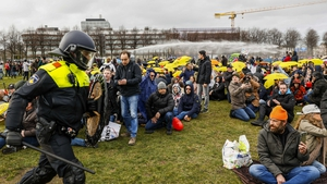 Police fired water cannon at demonstrators in The Hague