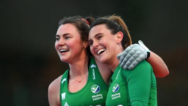 Deirdre Duke, left, and Nikki Evans of Ireland