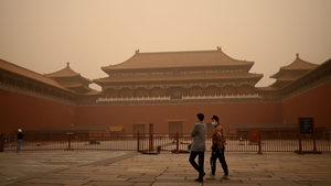 The sandstorm reduced visibility in Beijing to less than 500 metres