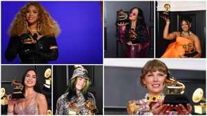 Female artists take top prizes (clockwise) Beyoncé, H.E.R., Megan Thee Stallion, Taylor Swift, Billie Eilish and Dua Lipa / Images: Getty