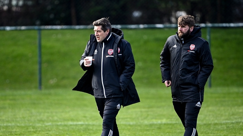 Derry City manager Declan Devine, left, and academy director Paddy McCourt, at a recent pre-season game in Dublin
