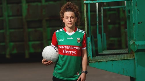Kathryn Sullivan poses in the the new home jersey which will be worn by all Mayo inter-county footballers and hurlers for the 2021 season