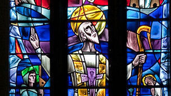 St Jarlath as depicted in a stained glass window designed by Richard King in 1961 in Tuam cathedral. Photo: Andreas F. Borchert/Wikipedia Creative Commons