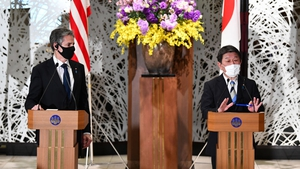 US Secretary of State Antony Blinken (L) and Toshimitsu Motegi, Japan's foreign minister, attend a joint news conference in Tokyo