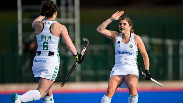 Roisin Upton of Ireland celebrates with team-mate Katie Mullan after putting Ireland in front