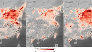 Imaging from the ESA shows the levels of nitrogen dioxide over China (Pics: European Space Agency)