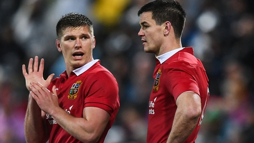 Owen Farrell (l) and Johnny Sexton in action for the Lions against New Zealand in 2017