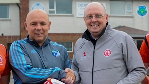 Damian Harvey alongside former Waterford hurling manager Derek McGrath at a previous Tyrone GAA coaching seminar in 2019