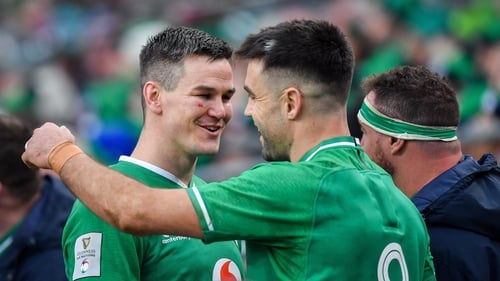 Johnny Sexton, left, with Conor Murray