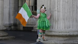 Willow O'Brien, 5, is dressed to impress for St Patrick's Day on O'Connell Street in Dublin (Pic: RollingNews.ie)