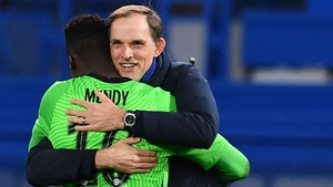 Thomas Tuchel celebrates with Edouard Mendy