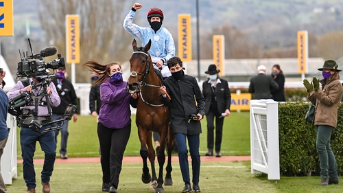Telmesomethinggirl and Rachael Blackmore are led into the winners enclosure