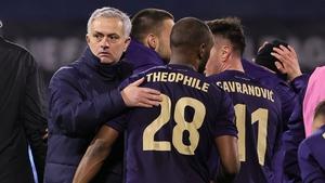 Jose Mourinho congratulates Kevin Theophile-Catherine of Dinamo Zagreb