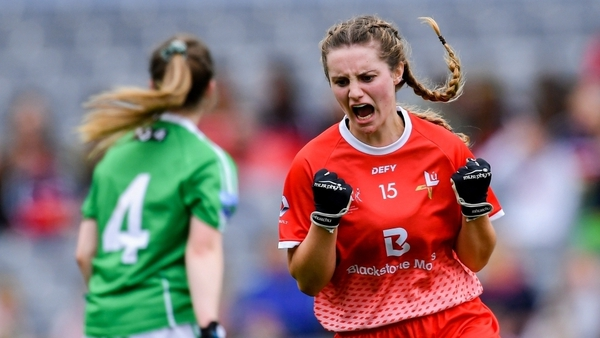 Niamh Rice celebrates scoring her side's second goal during the 2019 TG4 All-Ireland Junior final.