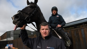 Gordon Elliott and Don Cossack, with Simon McGonagle up, at his stables back in 2016