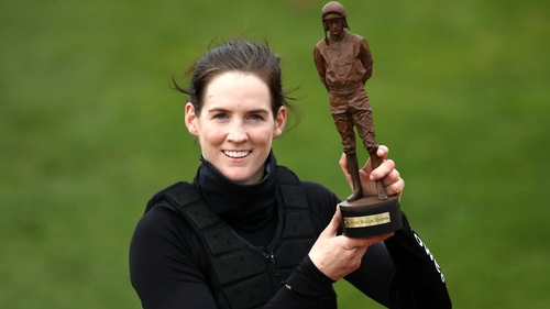 Rachael Blackmore poses with the Ruby Walsh Trophy awarded to the top jockey at the Cheltenham Festival