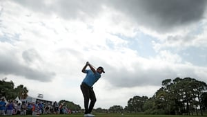Shane Lowry plays his shot from the 11th tee during the second round of The Honda Classic
