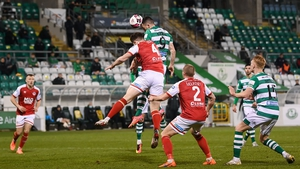 Aaron Greene rises high to head home the Shamrock Rovers equaliser