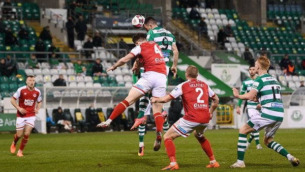 Aaron Greene rises high to head home the Shamrock Rovers equaliser