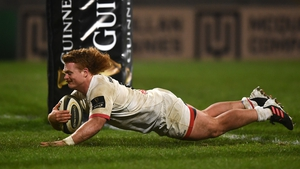 Brad Roberts of Ulster scores his side's seventh try