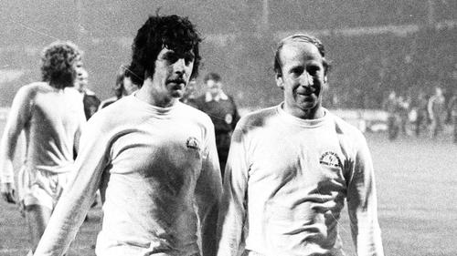 Lorimer (left) and Bobby Charlton
