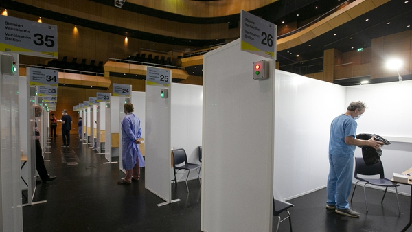 The vaccination centre in the Helix, Dublin (Pic: RollingNews.ie)