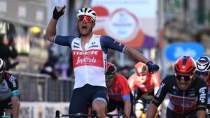 Jasper Stuyven celebrates victory