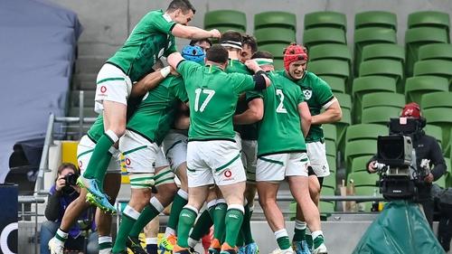 Ireland celebrate Jack Conan's try