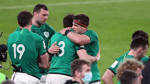 CJ Stander embraces Robbie Henshaw at full-time