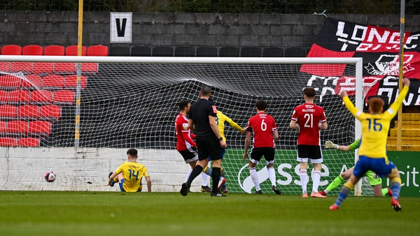 Dylan Grimes' shot from a narrow angle put Longford Town in front