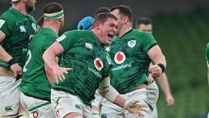 Tadgh Furlong shows his delight after Ireland win a penalty