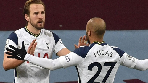 Harry Kane celebrates with Lucas Moura after scoring Spurs' second goal