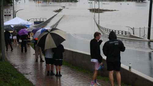 The New Windsor Bridge was inundated by flood waters from the Nepean River in the north west of Sydney