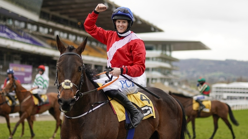 Rachael Blackmore celebrates after riding Quilixios to win The JCB Triumph Hurdle