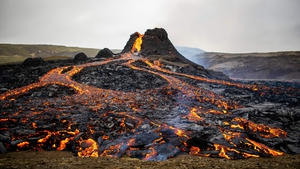 Icelandic experts, who initially thought the eruption near Mount Fagradalsfjall would be a short-lived affair, now think it could last several weeks or more (File pic)