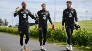 """""""Next man in"""" - Mark Travers (right) looks set to start in Serbia due to injuries to Darren Randolph and Caoimhin Kelleher"""