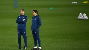 Stephen Kenny and coach Keith Andrews look on as Ireland train at the Red Star Stadium ahead of their World Cup qualifying opener in Serbia