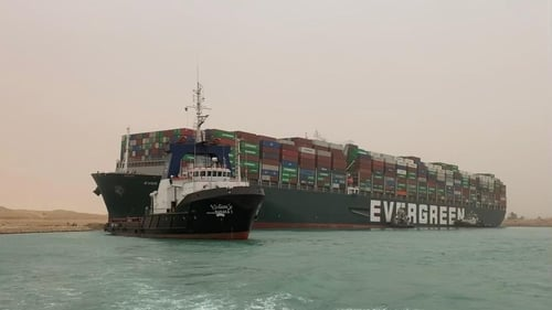The vessel got diagonally stuck in the narrow but crucial global trade artery in a sandstorm on 23 March