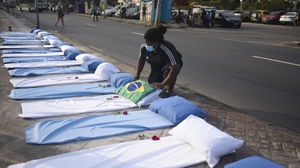 A memorial placed outside the Hospital Municipal Ronaldo Gazolla in Rio de Janeiro for those who have died from the disease