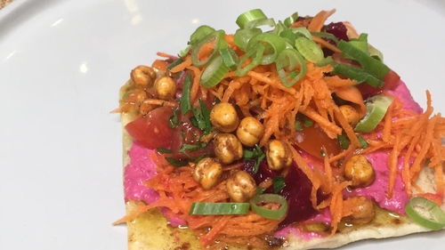 Mags Roche's open vegetarian kebabswith beetroot hummus, pickled carrot, cherry tomato salsa and spicy crunchy chickpeas.
