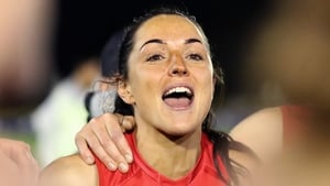 Sinead Goldrick celebrating the win over Adelaide Crows on 13 March