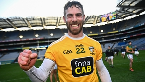 Neil McManus celebrates after Antrim's Joe McDonagh Cup win last December