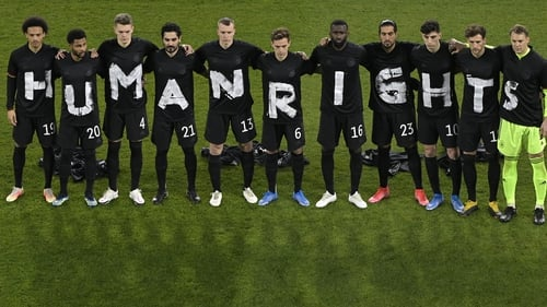 Germany players wear T-shirts which spell out 'Human Rights' prior to the clash against Iceland
