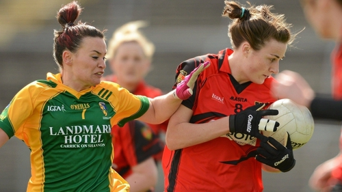 Clara Fitzpatrick wears the Down shirt in 2012 and battles with Leitrim's Lisa McWeeney